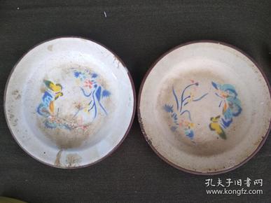 59年老搪瓷蝴蝶盤兩個.