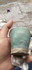 茉莉瓷片~宋代文房盛水挂绿釉小瓶残件