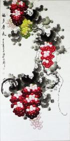 ◆◆◆保真!著名书画家大海老师国画四尺葡萄精品◆红如珍珠、绿若碧玉、青似玛瑙、枝枝富贵叶叶吉祥!晶莹剔透完美无瑕!◆一流精品!装饰赠友收藏保值最佳选择!07876