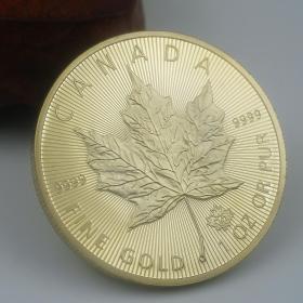 2015加拿大枫叶纪念币英联邦女王金币 50元枫叶纪念币1盎司镀金币