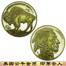 2012年美国50美金纪念币印第安人金币 美国公牛币金币外币纪念章