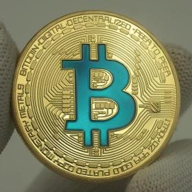 蓝色bitcoin实物纪念币区块链纪念币BTG BTC硬币比特彩色金币