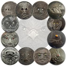 13枚全套蒙古动物镶钻纪念币 高浮雕镶钻银币纪念章500图格里克