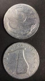 现货意大利5里拉硬币 50枚散装 年份随机发货