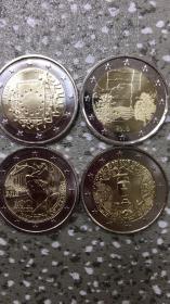现货欧洲2欧元硬币 4枚套 年份随机发货