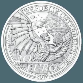 2019年奥地利发行冲上云霄系列飞行梦想20欧元精致纪念银币
