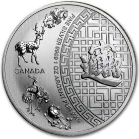 2016年加拿大发行招财进宝5加元投资银币
