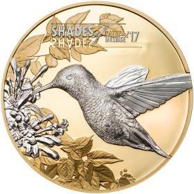 2017年库克群岛发行自然之影系列—蜂鸟镭射雕刻镀金精制纪念银币