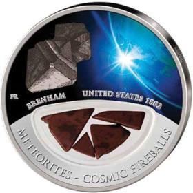 2012年斐济发行美国布伦纳姆陨石彩色精制纪念银币