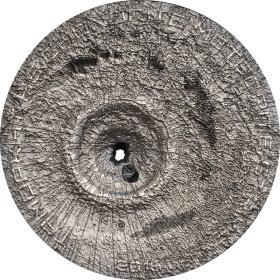2016年库克发行摩洛哥普通球粒H5陨石仿古纪念银币