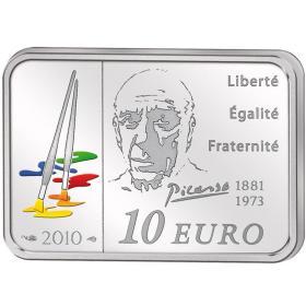 2010年法国发行毕加索方形彩色精制纪念银币