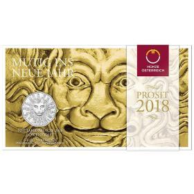 2018年奥地利发行狮子的力量5欧元纪念银币-卡装