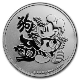 2018年纽埃发行迪斯尼生肖狗2元投资银币