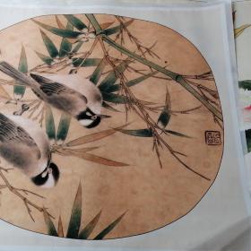珂罗版李晓明竹叶上的鸟(大)