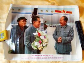 宣传画    毛主席和周恩来 朱委员长在一起