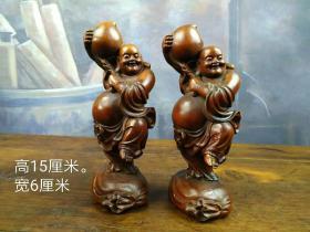 黄杨木笑佛送福一对,手工雕刻,包浆浓厚。高15cm,宽6cm