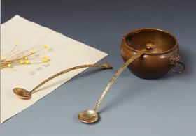 如意铜水勺 水盂铜勺