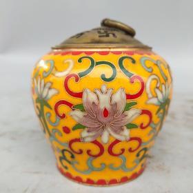 旧藏纯铜景泰蓝手工掐丝珐琅彩花卉熏香炉摆件尺寸如图,重620克