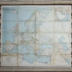 National Geographic国家地理杂志地图系列之1943年6月 Europe and The Near East 二战时期欧洲及近东地图