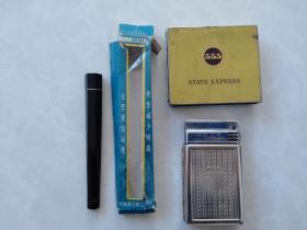 老上海 葵花牌 火石打火機煙盒二合一全套+555鐵煙盒+老煙嘴