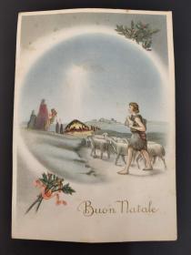 老 明信片 意大利 圣诞快乐