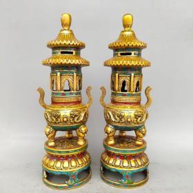 旧藏纯铜景泰蓝手工掐丝珐琅彩三体塔炉  熏香炉摆件一对尺寸如图,重4320克