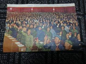 文革宣传画:全体代表一致通过林副主席代表党中央所作的政治报告和中国共产党章程(第九次全国人民代表大会)