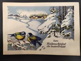 老 明信片 德国 圣诞祝福