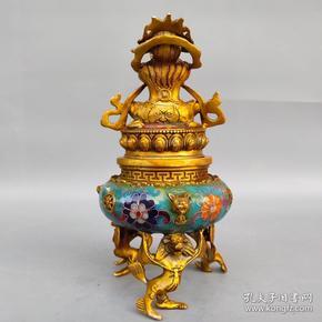 旧藏纯铜景泰蓝手工掐丝珐琅彩金刚炉 熏香炉摆件尺寸如图,重1130克