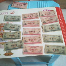 1965年全国粮票6张合售,半斤,一斤各三张【品相9品】
