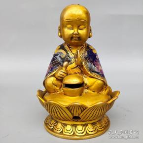 旧藏纯铜景泰蓝手工掐丝珐琅彩打坐小沙弥熏香炉摆件尺寸如图,重590克