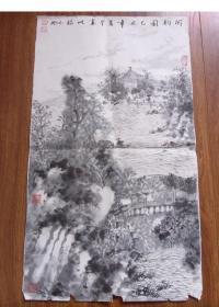 江苏著名画家潘志刚山水画《闲钓图》永保真迹