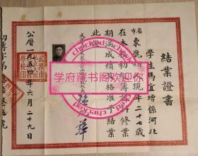 1954年武汉市私立大众会计函授学校初级簿记科结业证书,校长张旭华