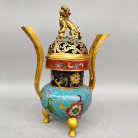 旧藏纯铜景泰蓝手工掐丝珐琅彩长耳狮盖熏香炉摆件高28.5厘米宽21厘米,重2960克