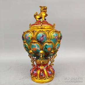 旧藏纯铜景泰蓝手工掐丝珐琅彩莲花狮盖熏香炉摆件尺寸如图,重2380克