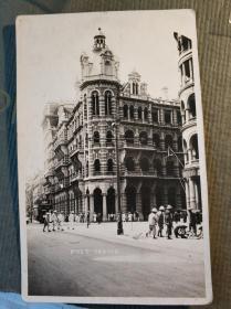 民國香港中環中央郵局及電車街景老照片明信片一張