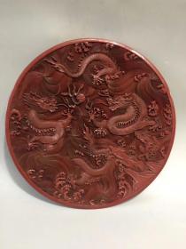 舊藏大明嘉靖年制底款  漆器二龍戲珠大盤一個 雕工極其細膩,品相完美,盤口直徑達37厘米,喜歡漆器的朋友不容錯過··