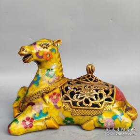 旧藏纯铜景泰蓝手工掐丝珐琅彩生肖马熏香炉摆件尺寸如图,重970克