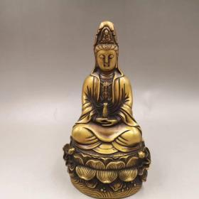 大明宣德底款·  纯铜观音像   高23.5厘米  重约1300克