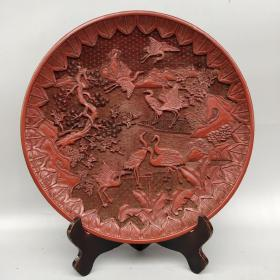 剔红漆器赏盘《松鹤延年》屏风摆件 尺寸如图,重960克左右