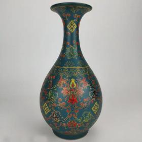大清雍正底款孔雀绿釉珐琅彩玉壶春瓶精品收藏