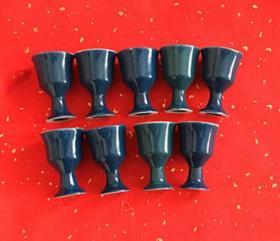 老酒杯 蓝釉高脚杯 九枚 八十年代左右 保老保真