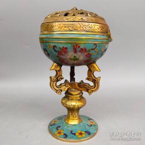 旧藏景泰蓝手工掐丝珐琅彩高腿熏香炉摆件尺寸如图,重1230克