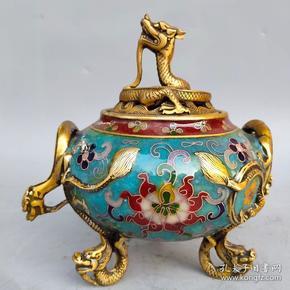 旧藏纯铜胎景泰蓝手工掐丝珐琅彩双龙耳龙盖熏香炉摆件尺寸如图,重1030克