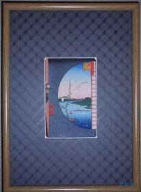 日本明信片 64开木版画 歌川广重 名所江户百景之关屋里见之图 附实木画框  复刻浮世绘