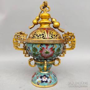 旧藏景泰蓝手工掐丝珐琅彩双耳葫芦熏香炉摆件尺寸如图,重2230克