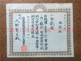 明治27年(1894年)8月爆发中日甲午战争,10月由日本陆军部颁发的捐款承认状,编号第50719号,大野宽吉上款。尺寸:28*23cm