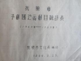 抚顺市豫剧团演出剧目统计表(1960-1965)油印本