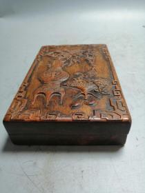 木雕砚台 带盖子 黄杨木硕台摆件