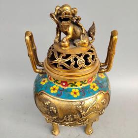 旧藏景泰蓝手工掐丝珐琅彩《喜上眉梢》双竹节耳狮盖熏香炉摆件尺寸如图,重4170克